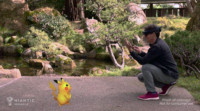 John Hanke with his augmented reality Pikachu. Source: Niantic