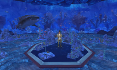 Microsoft's Alex Kipman in a holographic aquarium. Source Microsoft